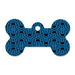 Triangle Knot Blue And Black Fabric Dog Tag Bone (Two Sides)