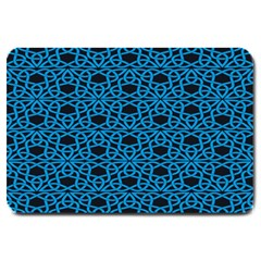 Triangle Knot Blue And Black Fabric Large Doormat