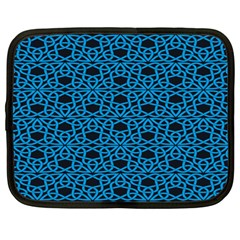 Triangle Knot Blue And Black Fabric Netbook Case (Large)