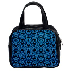 Triangle Knot Blue And Black Fabric Classic Handbags (2 Sides)