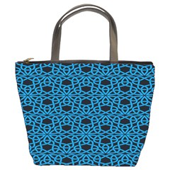 Triangle Knot Blue And Black Fabric Bucket Bags