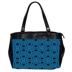 Triangle Knot Blue And Black Fabric Office Handbags (2 Sides)