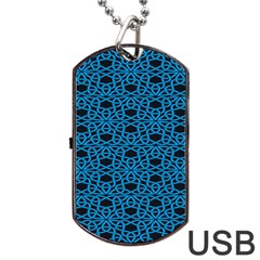 Triangle Knot Blue And Black Fabric Dog Tag USB Flash (Two Sides)