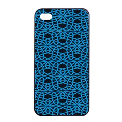 Triangle Knot Blue And Black Fabric Apple iPhone 4/4s Seamless Case (Black)