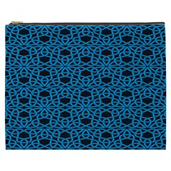 Triangle Knot Blue And Black Fabric Cosmetic Bag (XXXL)