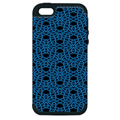 Triangle Knot Blue And Black Fabric Apple iPhone 5 Hardshell Case (PC+Silicone)