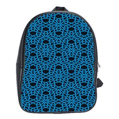 Triangle Knot Blue And Black Fabric School Bags (XL)