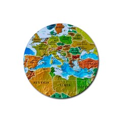 World Map Rubber Round Coaster (4 pack)