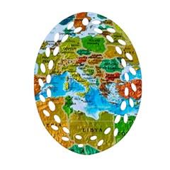 World Map Ornament (Oval Filigree)