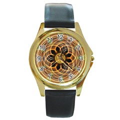 Mixed Chaos Flower Colorful Fractal Round Gold Metal Watch