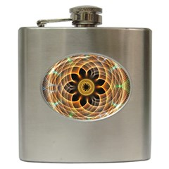 Mixed Chaos Flower Colorful Fractal Hip Flask (6 oz)