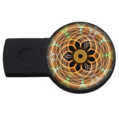 Mixed Chaos Flower Colorful Fractal USB Flash Drive Round (1 GB)