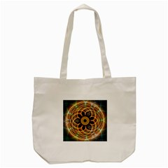 Mixed Chaos Flower Colorful Fractal Tote Bag (Cream)