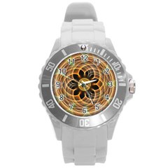 Mixed Chaos Flower Colorful Fractal Round Plastic Sport Watch (L)