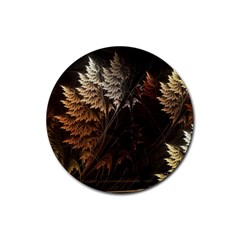 Fractalius Abstract Forests Fractal Fractals Rubber Round Coaster (4 pack)
