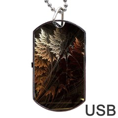Fractalius Abstract Forests Fractal Fractals Dog Tag USB Flash (Two Sides)