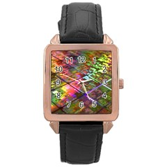 Technology Circuit Computer Rose Gold Leather Watch