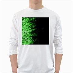 Fire White Long Sleeve T-Shirts