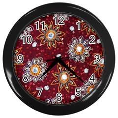 India Traditional Fabric Wall Clocks (Black)