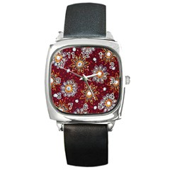India Traditional Fabric Square Metal Watch