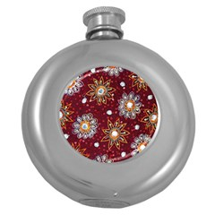 India Traditional Fabric Round Hip Flask (5 oz)
