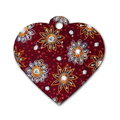 India Traditional Fabric Dog Tag Heart (Two Sides)
