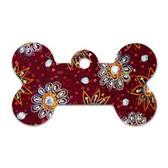 India Traditional Fabric Dog Tag Bone (Two Sides)