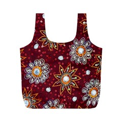 India Traditional Fabric Full Print Recycle Bags (M)