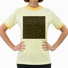 Seamless Leather Texture Pattern Women s Fitted Ringer T-Shirts