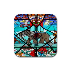 Elephant Stained Glass Rubber Square Coaster (4 pack)