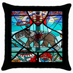 Elephant Stained Glass Throw Pillow Case (Black)