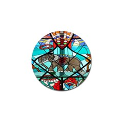 Elephant Stained Glass Golf Ball Marker (4 pack)