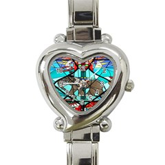 Elephant Stained Glass Heart Italian Charm Watch