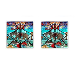 Elephant Stained Glass Cufflinks (Square)