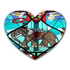 Elephant Stained Glass Heart Mousepads