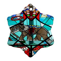 Elephant Stained Glass Snowflake Ornament (Two Sides)