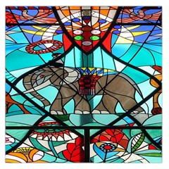 Elephant Stained Glass Large Satin Scarf (Square)