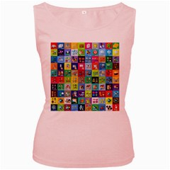 Exquisite Icons Collection Vector Women s Pink Tank Top