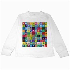 Exquisite Icons Collection Vector Kids Long Sleeve T-Shirts