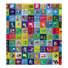 Exquisite Icons Collection Vector Shower Curtain 66  x 72  (Large)