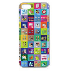 Exquisite Icons Collection Vector Apple Seamless iPhone 5 Case (Clear)