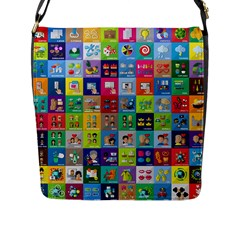 Exquisite Icons Collection Vector Flap Messenger Bag (L)