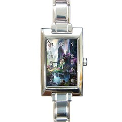 Fantastic World Fantasy Painting Rectangle Italian Charm Watch