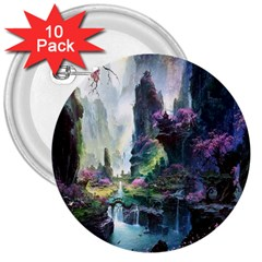 Fantastic World Fantasy Painting 3  Buttons (10 pack)
