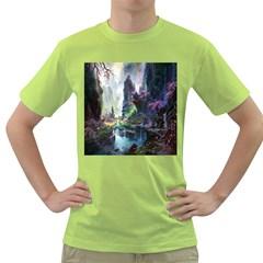 Fantastic World Fantasy Painting Green T-Shirt