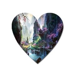 Fantastic World Fantasy Painting Heart Magnet