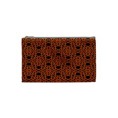 Triangle Knot Orange And Black Fabric Cosmetic Bag (Small)
