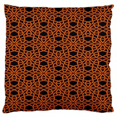 Triangle Knot Orange And Black Fabric Large Cushion Case (Two Sides)