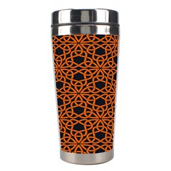 Triangle Knot Orange And Black Fabric Stainless Steel Travel Tumblers