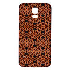 Triangle Knot Orange And Black Fabric Samsung Galaxy S5 Back Case (White)